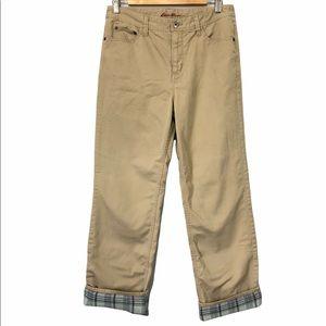 Eddie Bauer High Rise Cotton Lined Tan Pants, 8